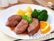 Печен свински черен дроб със зеленчуци на фурна